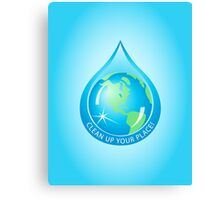 Globe in Water Drop Canvas Print