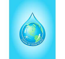 Globe in Water Drop Photographic Print
