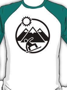 Snowboard mountains sun T-Shirt