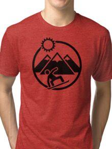 Snowboard mountains sun Tri-blend T-Shirt