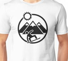 Snowboard mountains sun Unisex T-Shirt