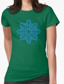 Blue snowflake Womens Fitted T-Shirt