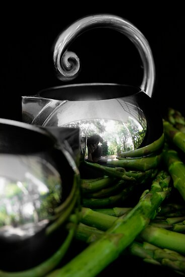 Still life with asparagus by micklyn