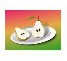 Pear Cartoon Art Print