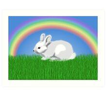 Easter Bunny & Rainbow Art Print