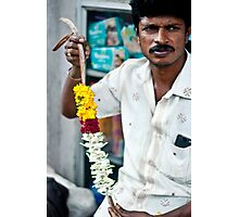 Candid portrait of a flower seller Photographic Print