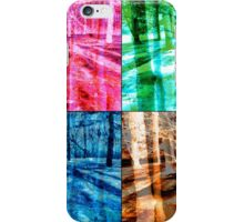Colorful Forest Trees Four Color Patch Organic Design iPhone Case/Skin