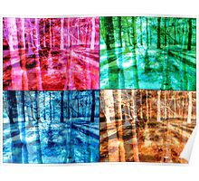 Colorful Forest Trees Four Color Patch Organic Design Poster