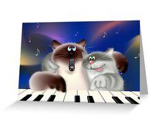 Cats Playing Piano Greeting Card