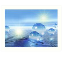 3-d Spheres Above the Water Art Print