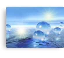 3-d Spheres Above the Water Canvas Print