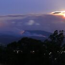 Moonrise over Yarra Valley fires. by Ern Mainka