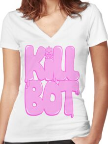 Killbot Bubble Text Women's Fitted V-Neck T-Shirt
