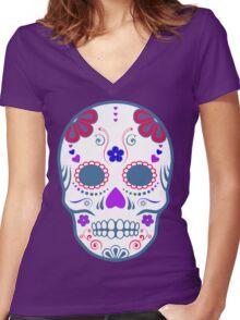 sugar skull Women's Fitted V-Neck T-Shirt