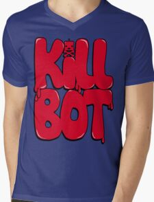 Killbot Bubble Text Red Mens V-Neck T-Shirt
