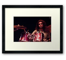 The poker-faced drummer Framed Print