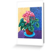 Blue Saucer floral still life Greeting Card
