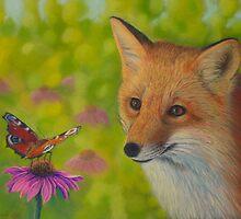 Fox and butterfly by Veikko  Suikkanen