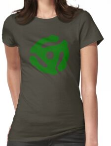 Green 45 Vinyl Record Symbol Womens Fitted T-Shirt