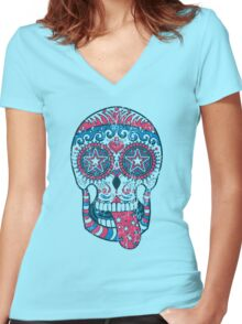Psychedelic Sugar Skull Women's Fitted V-Neck T-Shirt