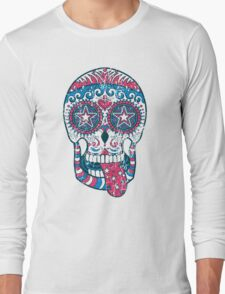 Psychedelic Sugar Skull Long Sleeve T-Shirt