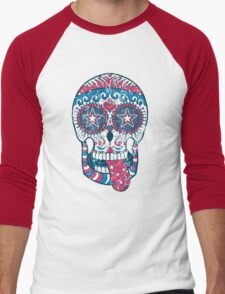 Psychedelic Sugar Skull Men's Baseball ¾ T-Shirt