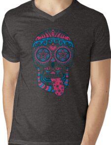 Psychedelic Sugar Skull Mens V-Neck T-Shirt