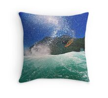Andrew Langer boosting big air, Kogel Bay, Western Cape, South Africa. Throw Pillow