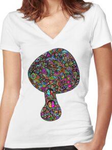 Mushroom Dreams Women's Fitted V-Neck T-Shirt