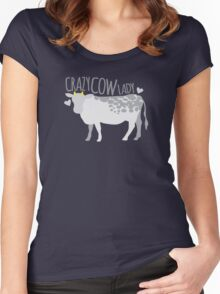 Crazy cow lady Women's Fitted Scoop T-Shirt