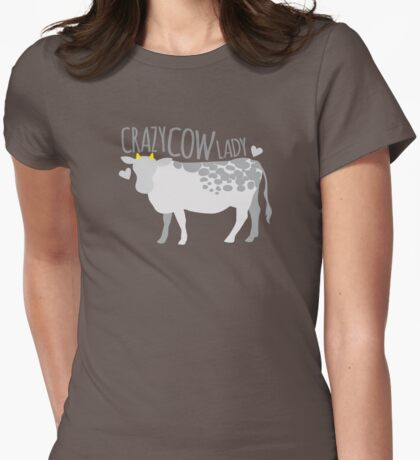Crazy cow lady Womens Fitted T-Shirt