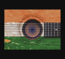 Old Vintage Acoustic Guitar with Indian Flag Kids Clothes