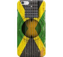 Old Vintage Acoustic Guitar with Jamaican Flag iPhone Case/Skin