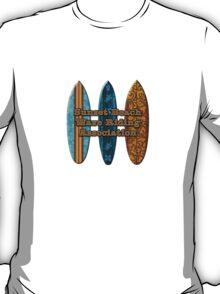 Sunset Beach Hawaiian Faux Koa Wood Surfboard - Aqua T-Shirt