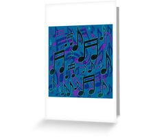 Music Notes Lively Expressive Blue Green Greeting Card
