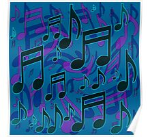 Music Notes Lively Expressive Blue Green Poster