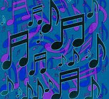 Music Notes Lively Expressive Blue Green by HappyArtSpirit