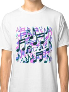 Music Notes Lively Expressive Blue Green Classic T-Shirt