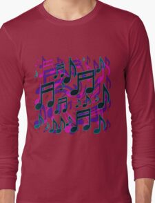 Music Notes Lively Expressive Blue Green Long Sleeve T-Shirt