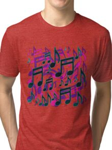 Music Notes Lively Expressive Blue Green Tri-blend T-Shirt
