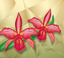 Orchids on Metal Fractals by lydiasart