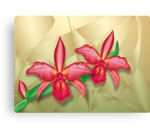 Orchids on Metal Fractals Canvas Print
