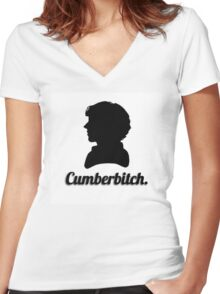 Cumberbitch silhouette design Women's Fitted V-Neck T-Shirt