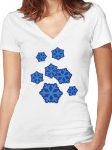 Snow snowflakes Women's Fitted V-Neck T-Shirt