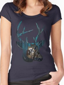 Night, Night Deer. Women's Fitted Scoop T-Shirt