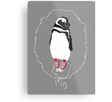 Happy Penguin in Converse Metal Print