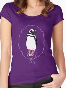 Happy Penguin in Converse Women's Fitted Scoop T-Shirt