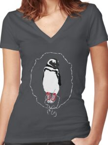 Happy Penguin in Converse Women's Fitted V-Neck T-Shirt