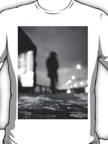 Man waiting at bus stop at night in winter square black and white analogue medium format film Hasselblad  photo T-Shirt