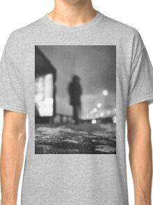 Man waiting at bus stop at night in winter square black and white analogue medium format film Hasselblad  photo Classic T-Shirt